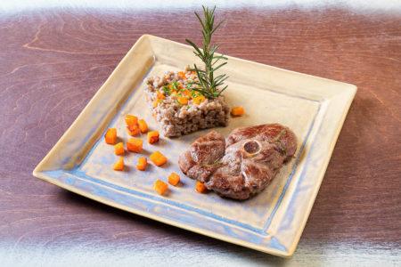 Crozets à l'ail des ours, truite et légumes cuits au four